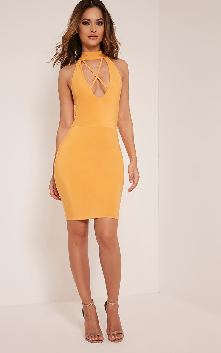 Gabby Pastel Orange Choker Cross Front Bodycon Dress 5