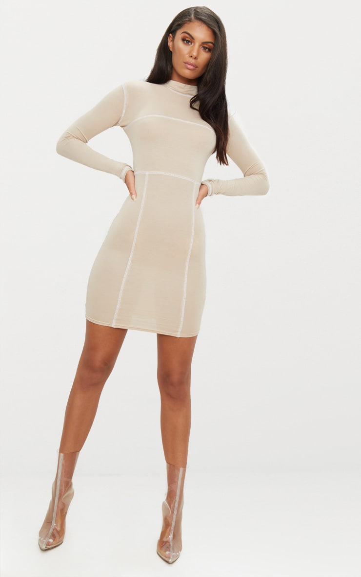 Stone Contrast Stitching Long Sleeve Bodycon Dress 3