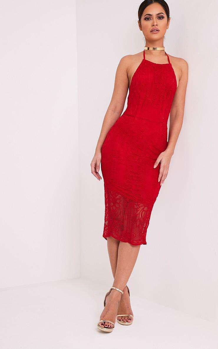 Kayana Red Lace Halterneck Midi Dress 5