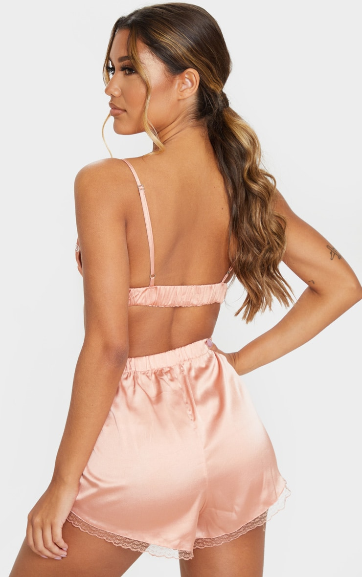 Peach Embroidered Bralet And Short Set 2