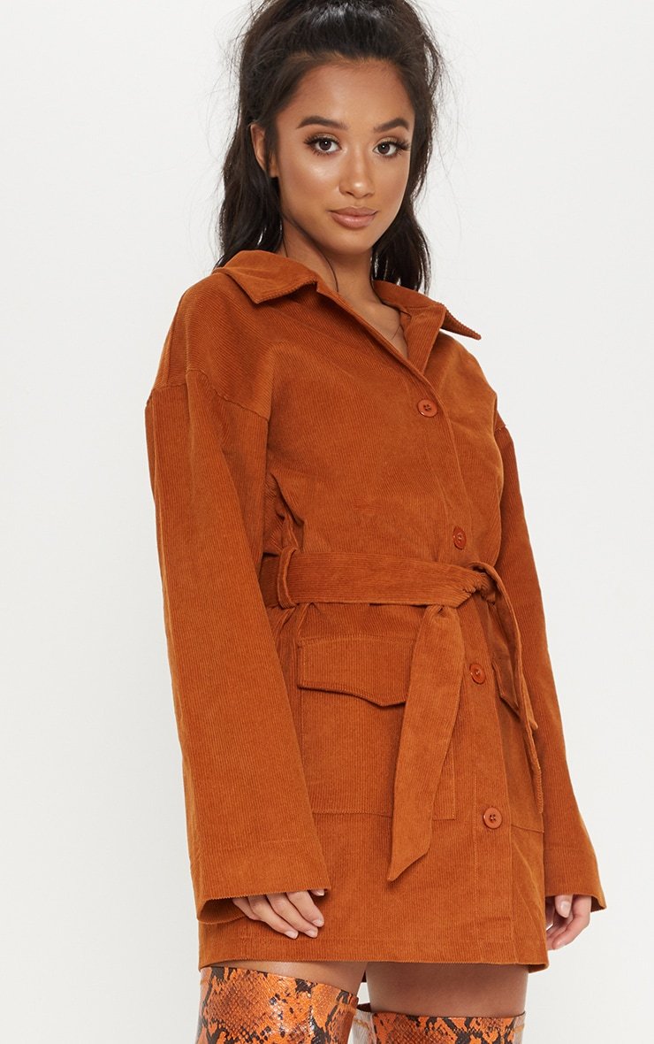 Petite Rust Cord Button Front Belted Shirt Dress 4