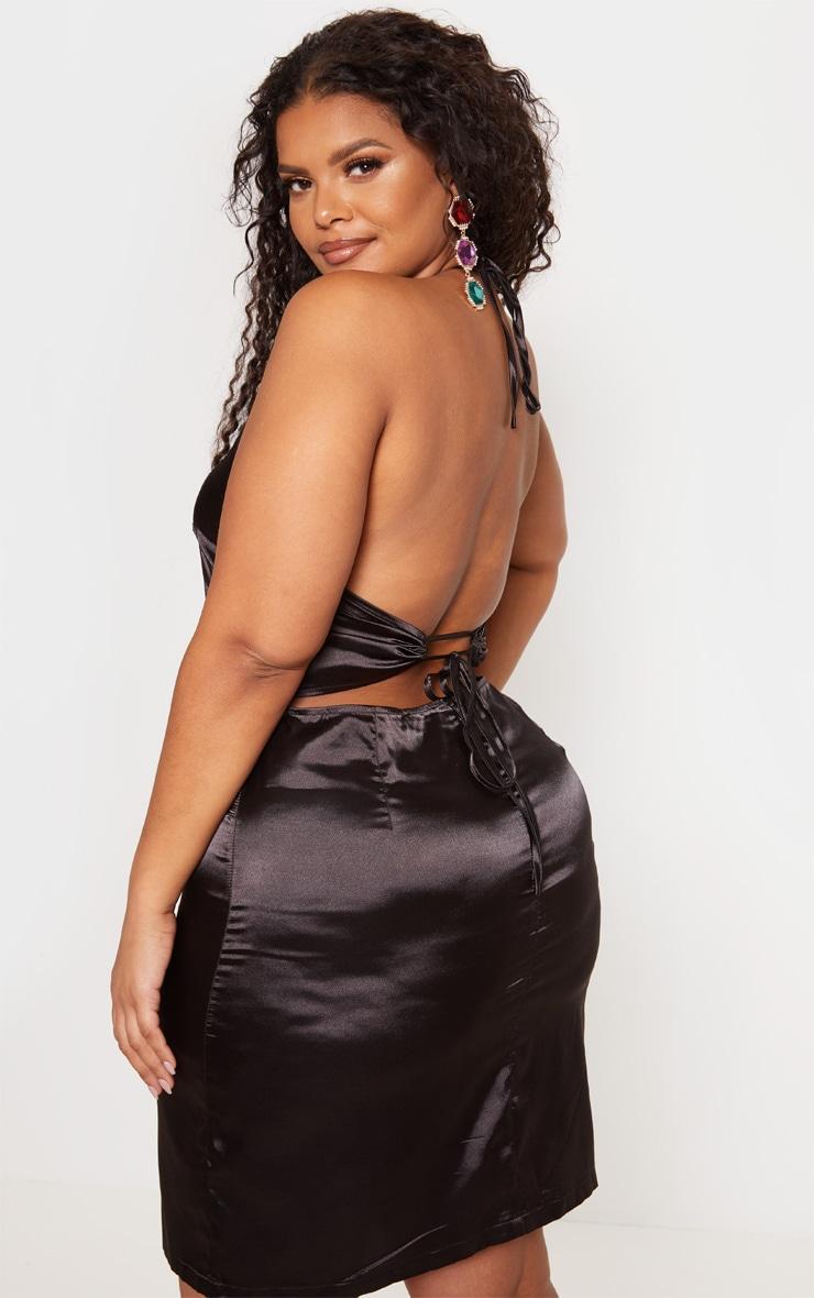 Plus Black Satin Sequin Oriental Bodycon Dress 3