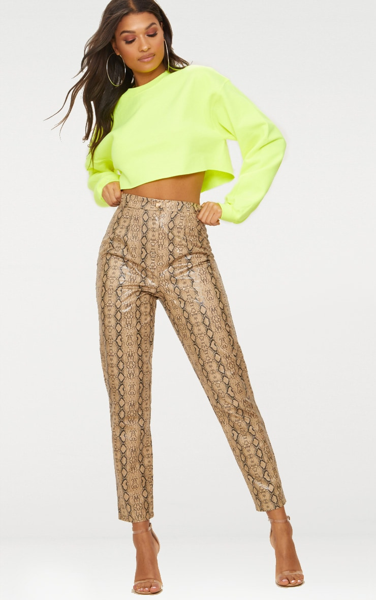 Taupe Faux Leather Snake Print Slim Leg Trousers