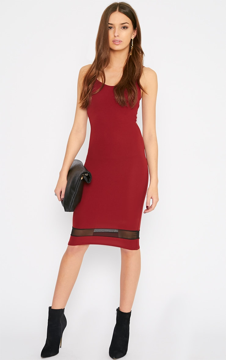 Leah Burgundy Mesh Insert Midi Dress 1