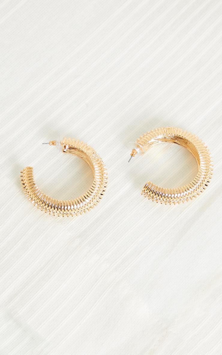 Gold Oversized Chunky Ribbed Hoop Earrings 1