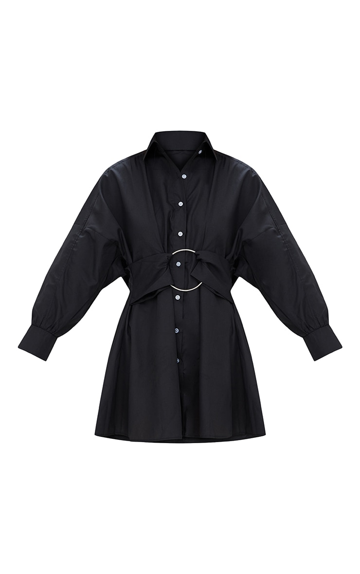 Black Ring Detail Shirt Dress 3