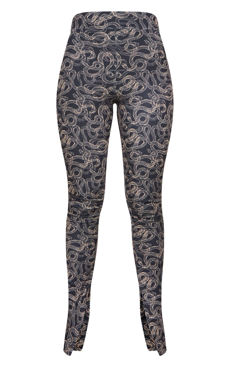 Snake Print Seam Detail Skinny Pants 5