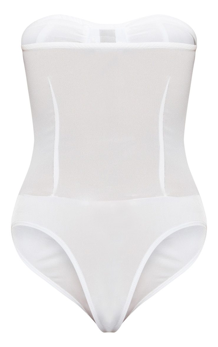White Chiffon Lace Up Bandeau Bodysuit 4