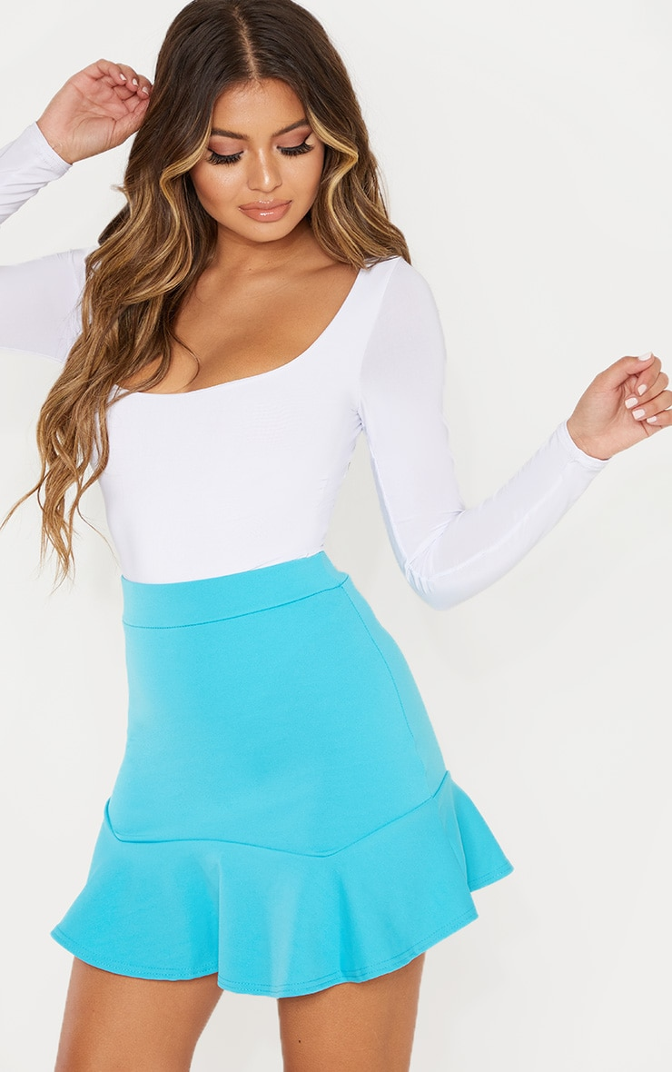 Bright Blue Flippy Hem Mini Skirt 1