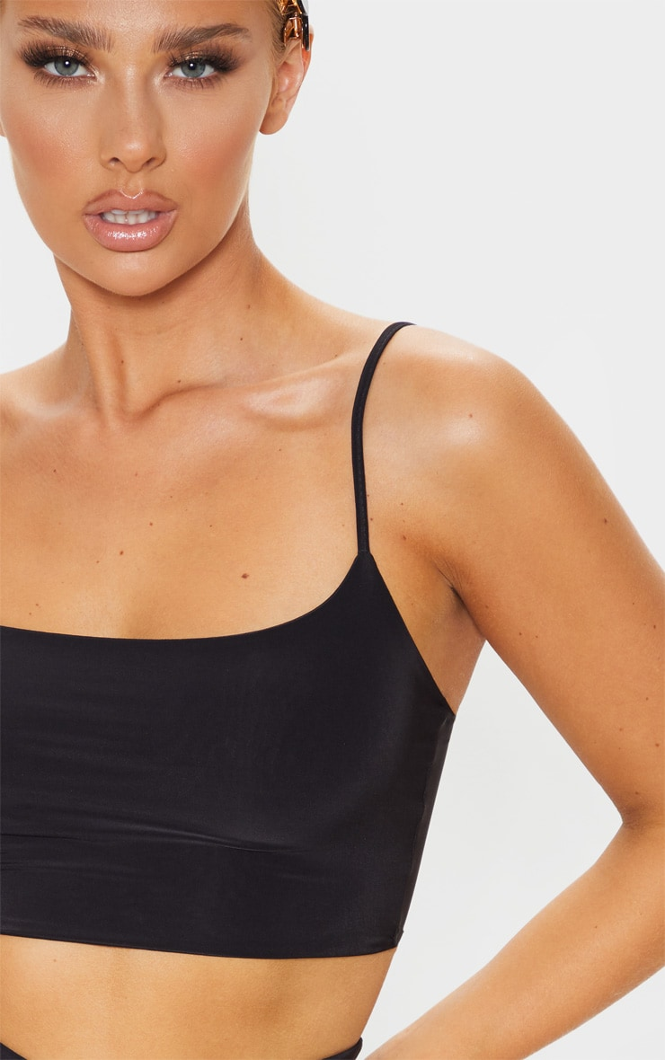 Black Slinky Strappy Detail Crop Top 5