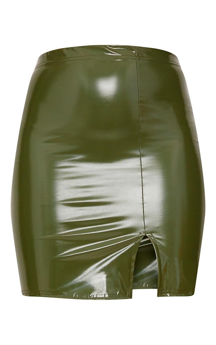 Khaki Vinyl Side Split Mini Skirt 3