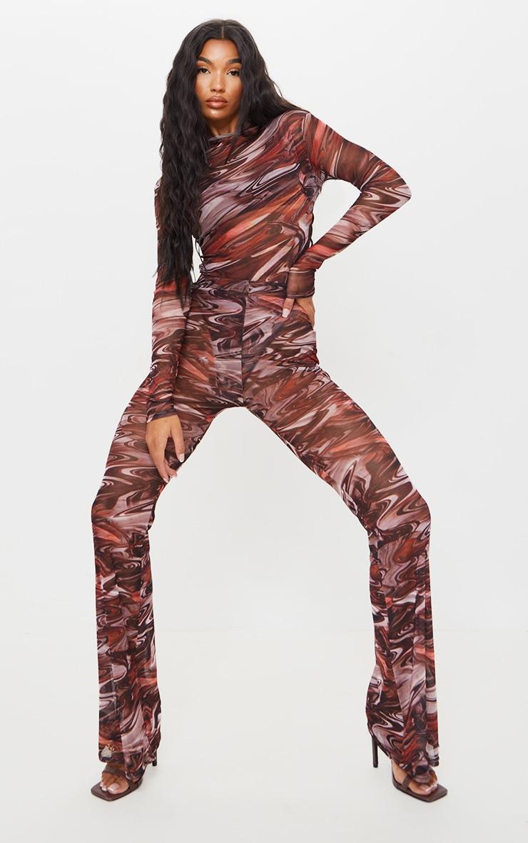 Chocolate Brown Printed Sheer Mesh High Neck Long Sleeve Bodysuit 3