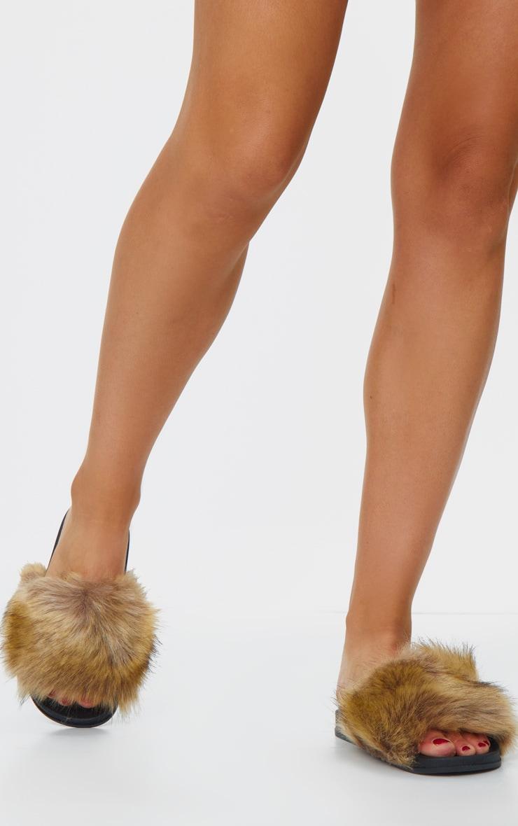 Brown Faux Fur Strap Sliders 2