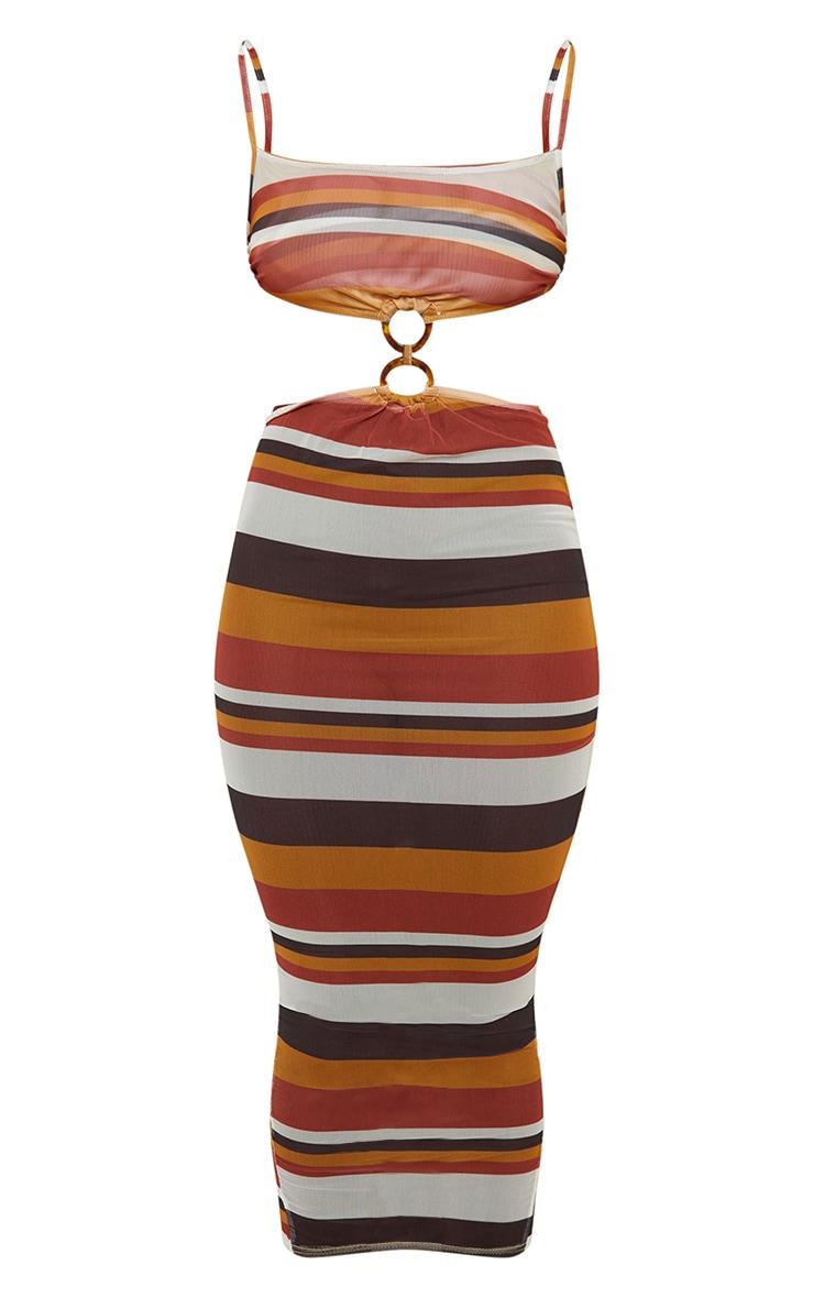 PLT Plus - Robe longue en mesh marron rayée à détail anneau 5
