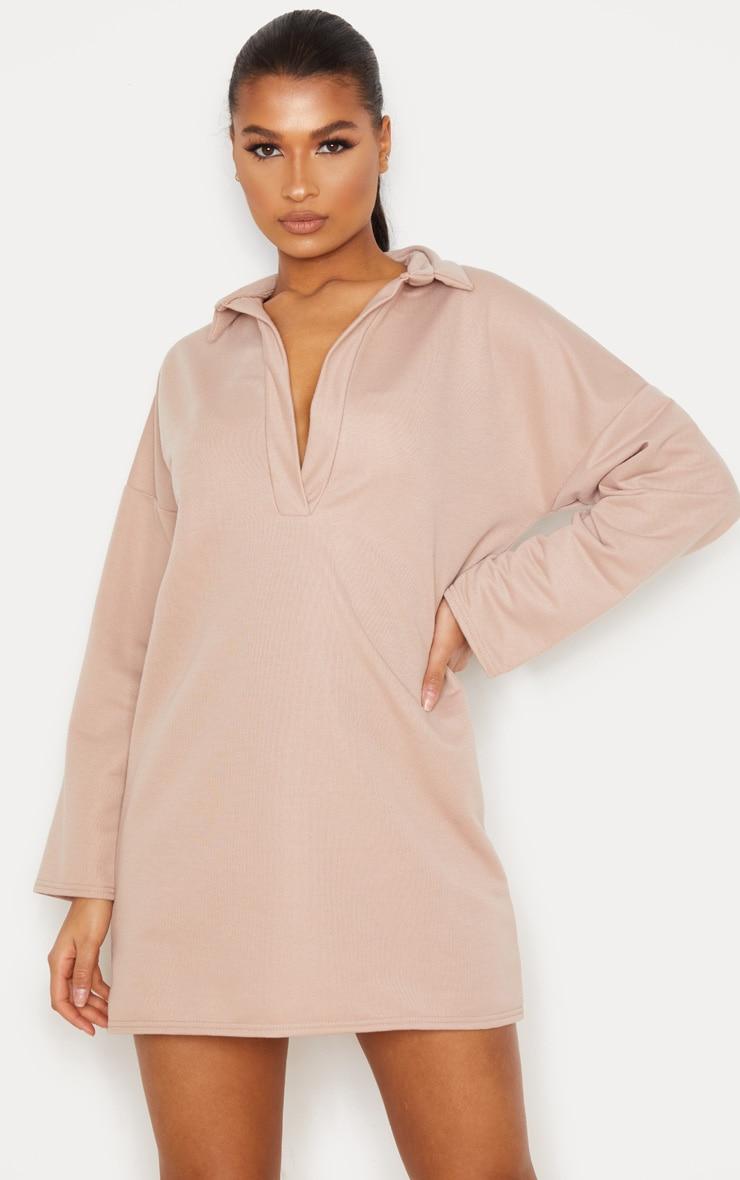 Stone Collar Detail Sweater Dress 1