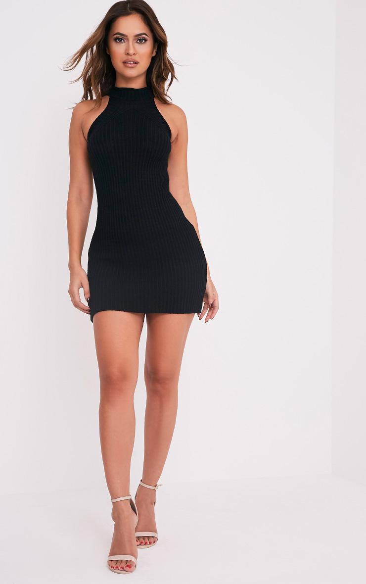 Nadalae robe mini noire tricotée col montant sans manches 5
