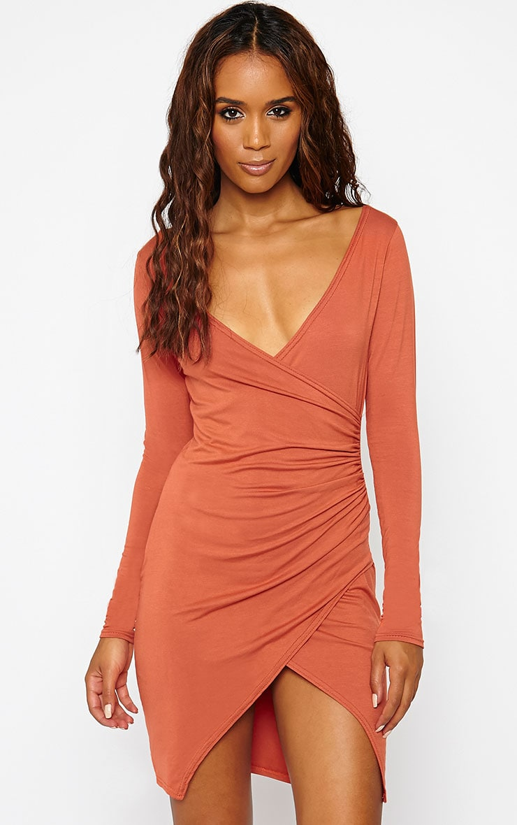 Kendi Rust Wrap Mini Dress 1