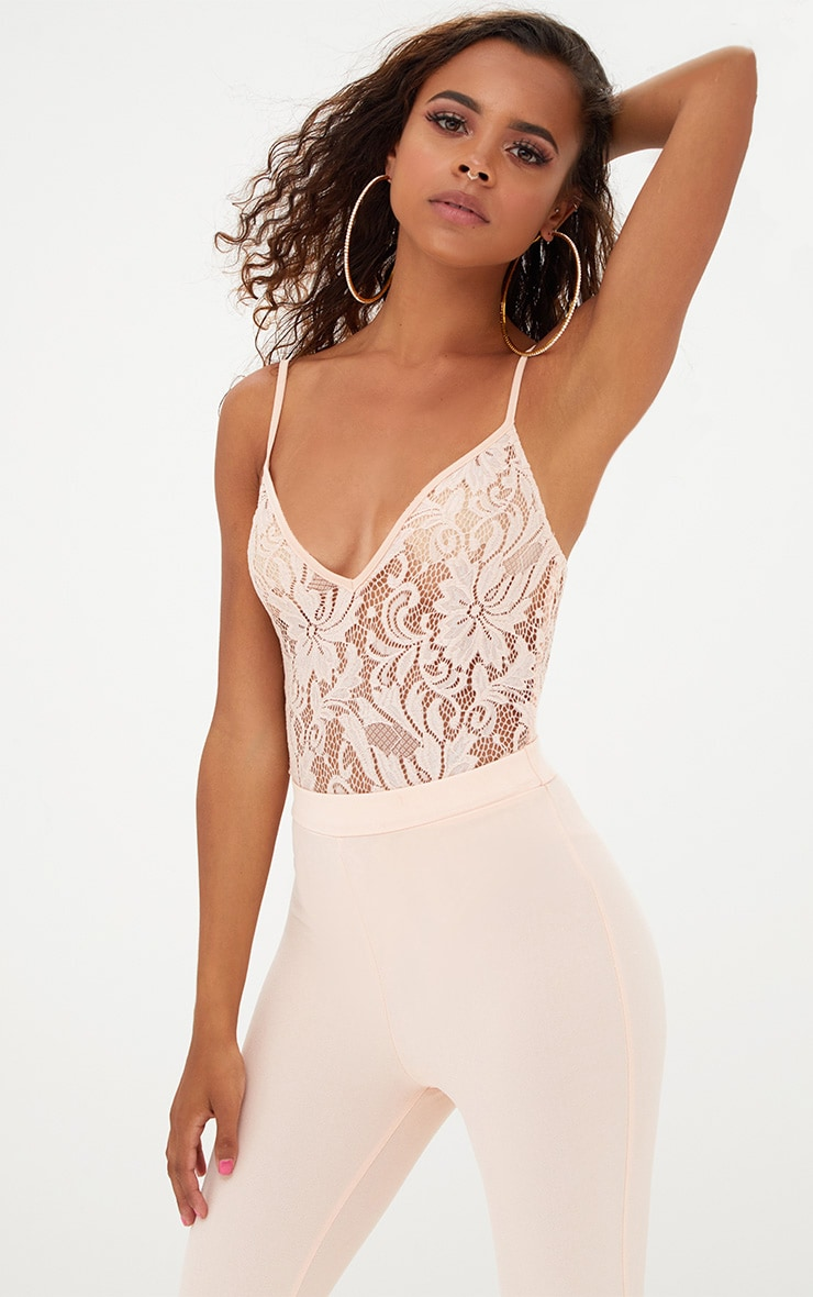 Petite Nude Strappy Sheer Lace Bodysuit 1