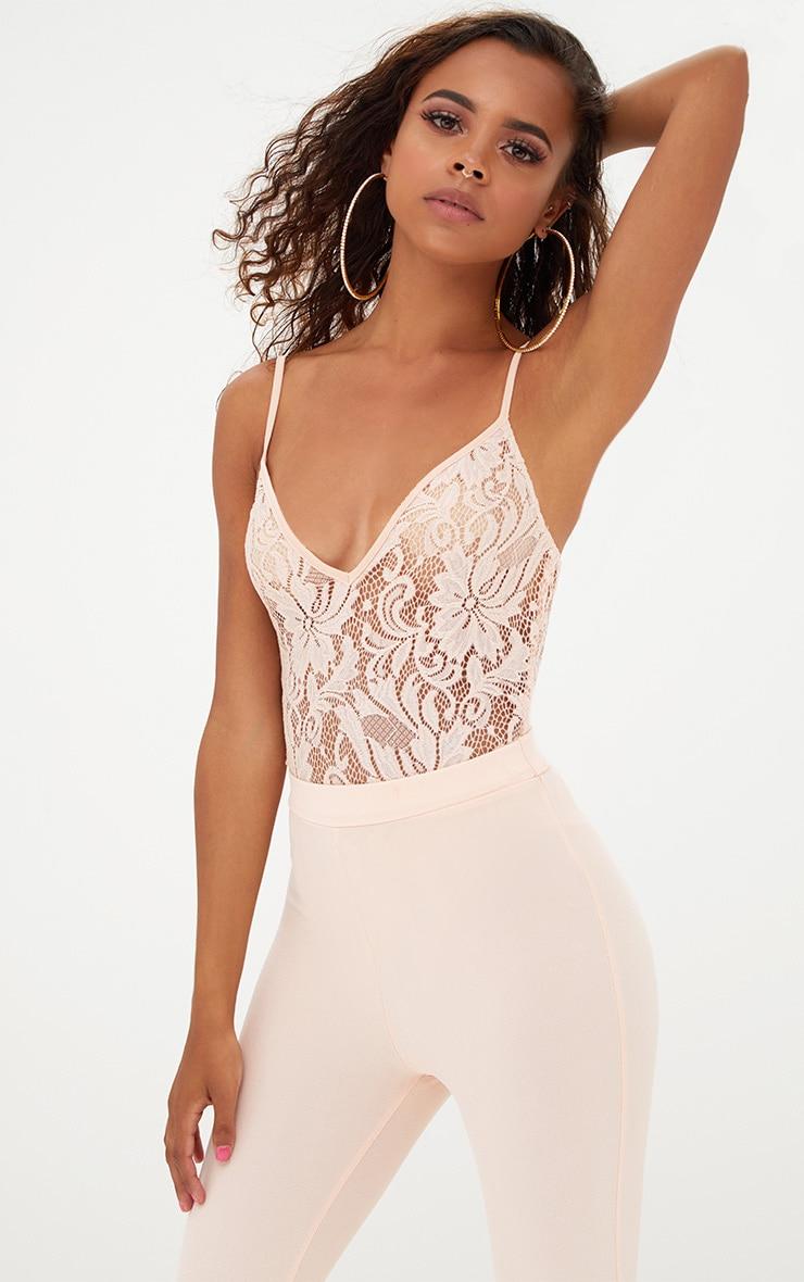 ce6d895c7769 Petite Nude Strappy Sheer Lace Bodysuit. Petite