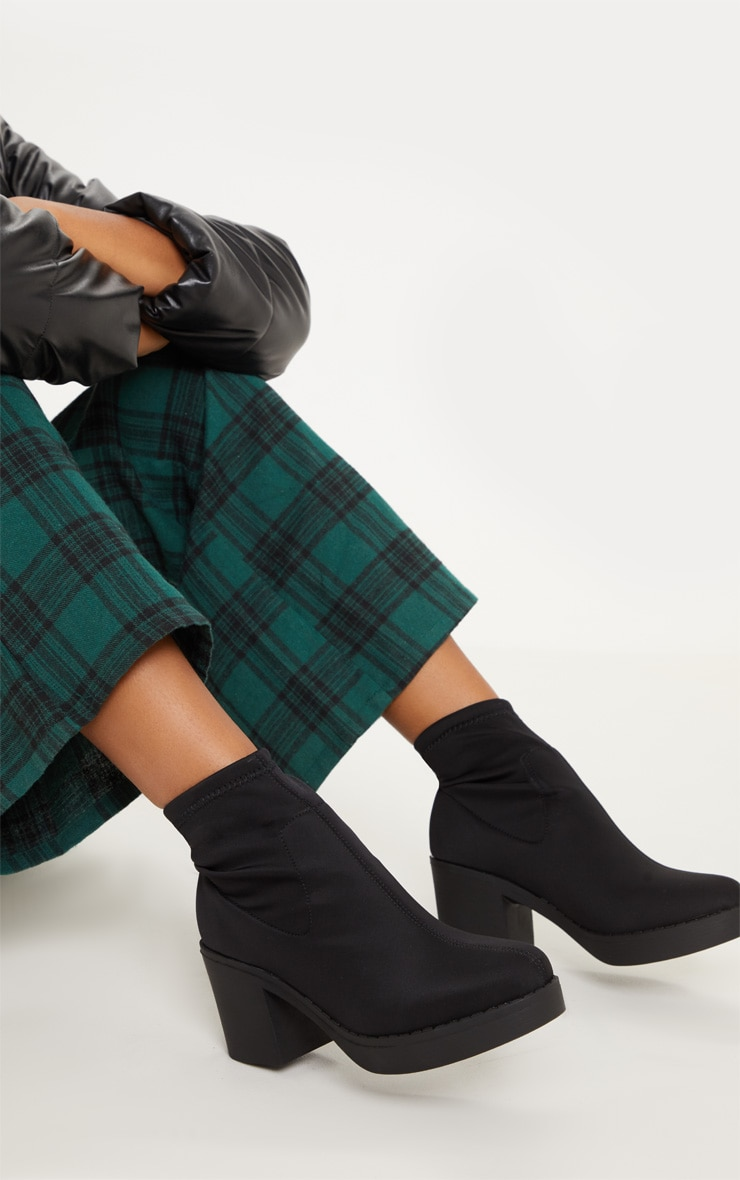 Black Platform Sock Boots 1