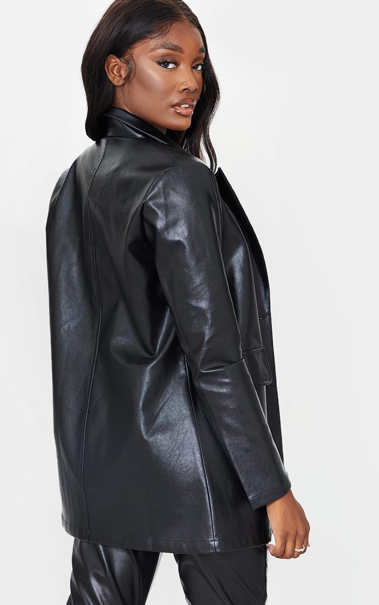 Tall Black Oversized Button  PU Blazer 2