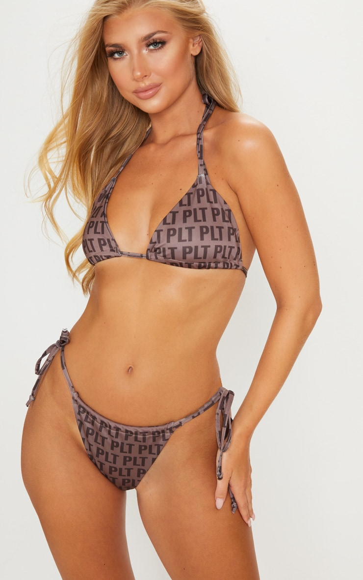 PRETTYLITTLETHING Mocha Repeat Print Triangle Bikini Top 1