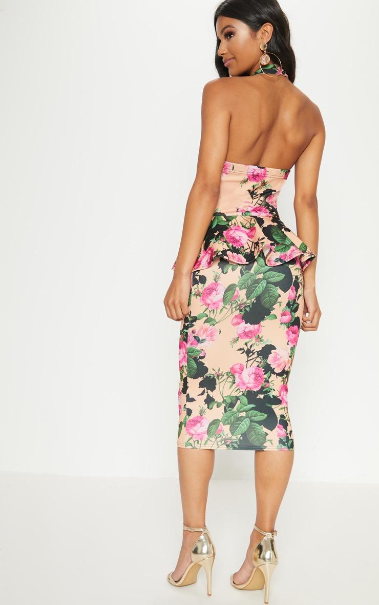 Peach Floral Peplum Detail Midi Dress 2