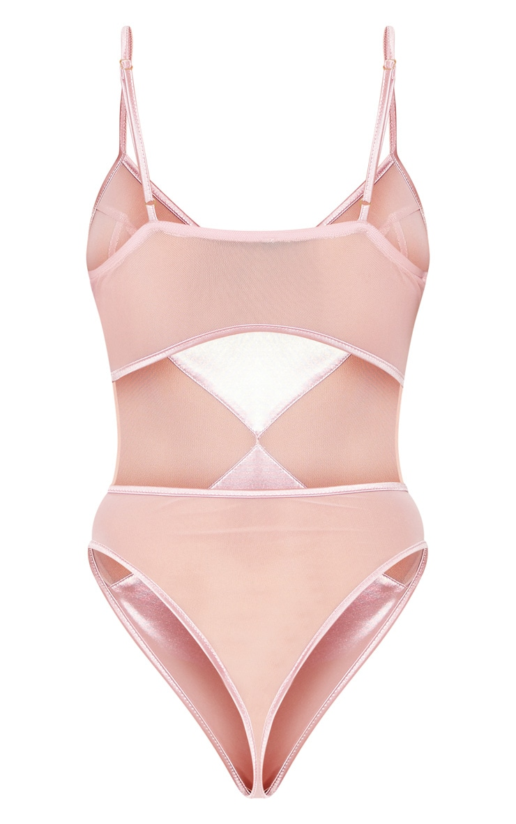 Pink V Wire Satin And Mesh Body 4