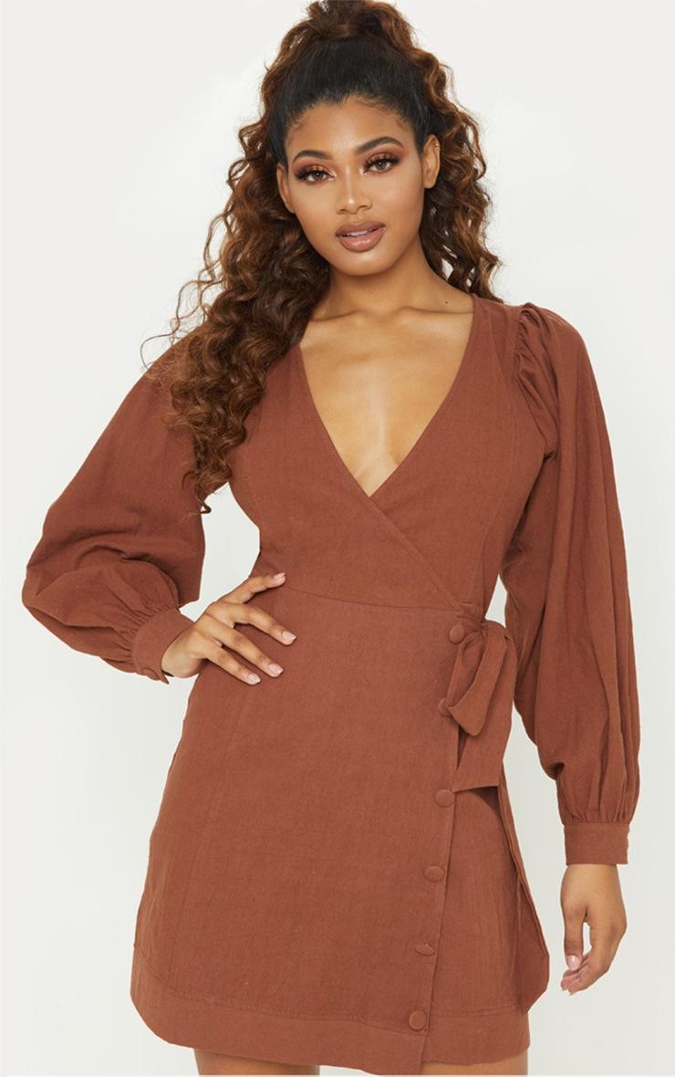 Tall Chocolate Brown Woven Puff Sleeve Button Detail Shift Dress 4