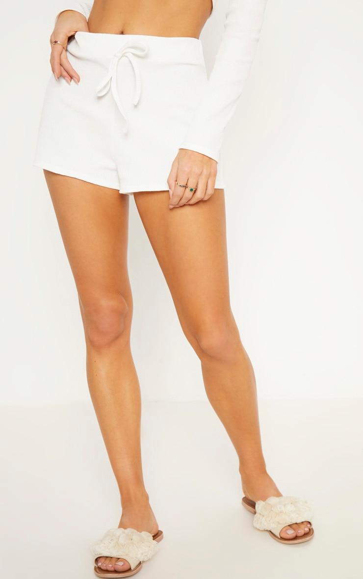Cream Rib Shorts 3