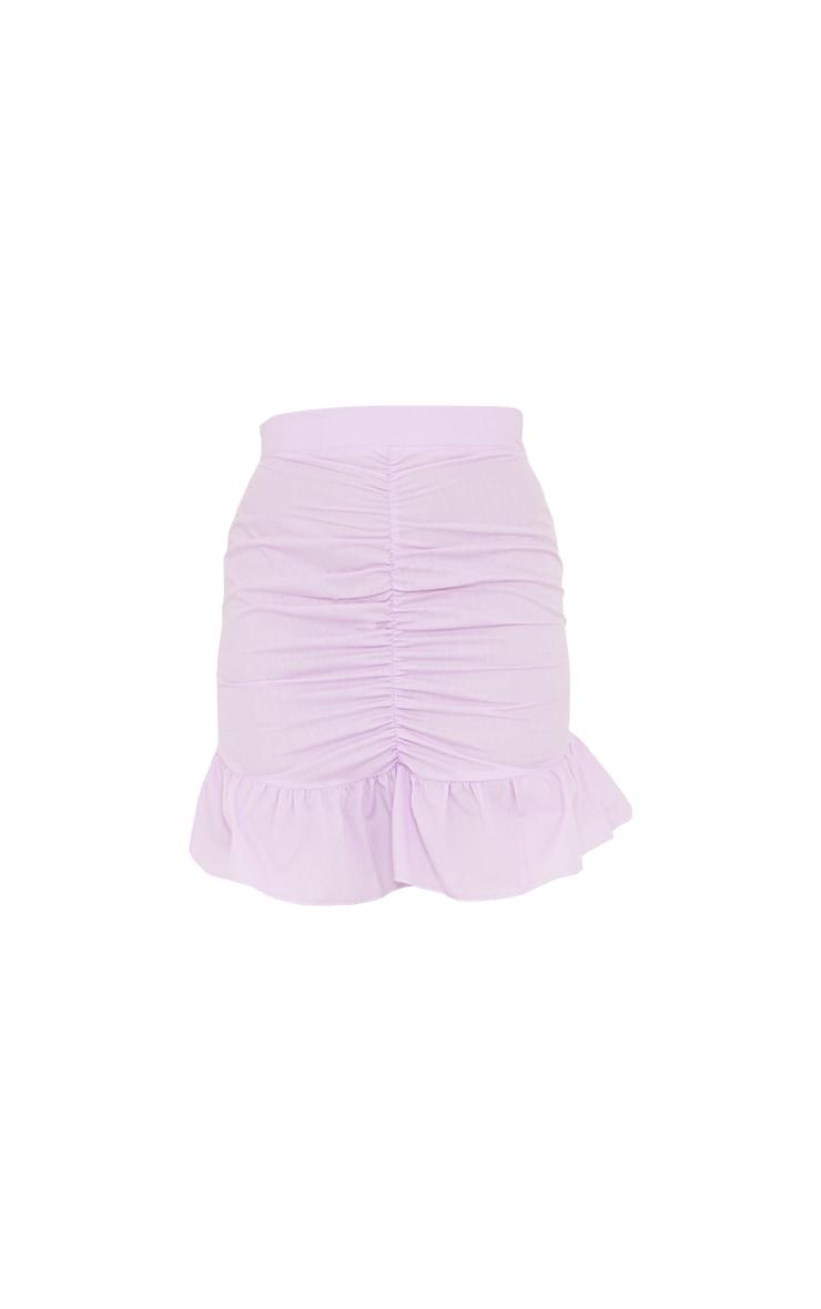 Lilac Woven Ruched Frill Hem Mini Skirt 7