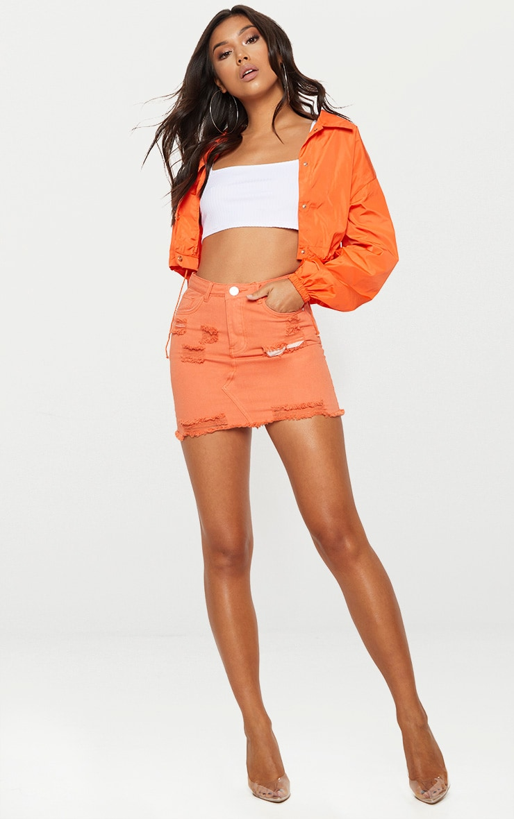 Orange Distressed Denim Mini Skirt 5