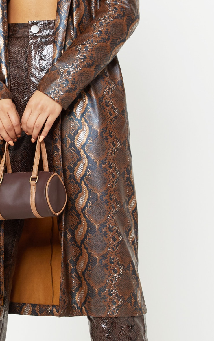 Brown Snake Print PU Trench 5