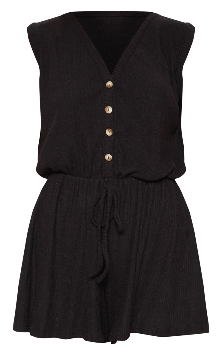Black Soft Rib Button Detail Sleeveless Playsuit 3