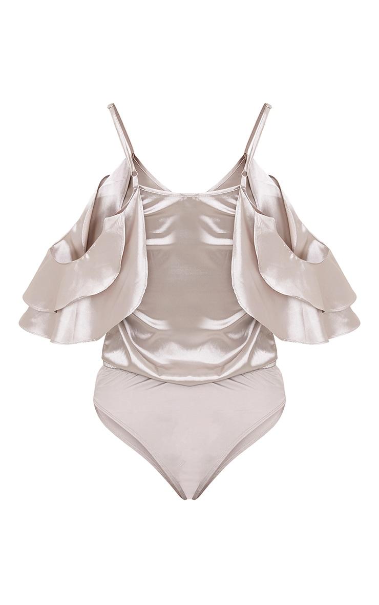 Abigail Grey Frill Satin Cold Shoulder Bodysuit  4