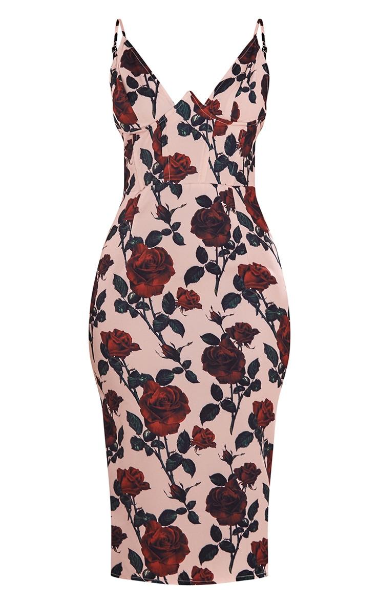 Robe mi-longue à roses nude à col en v et coutures apparentes 5