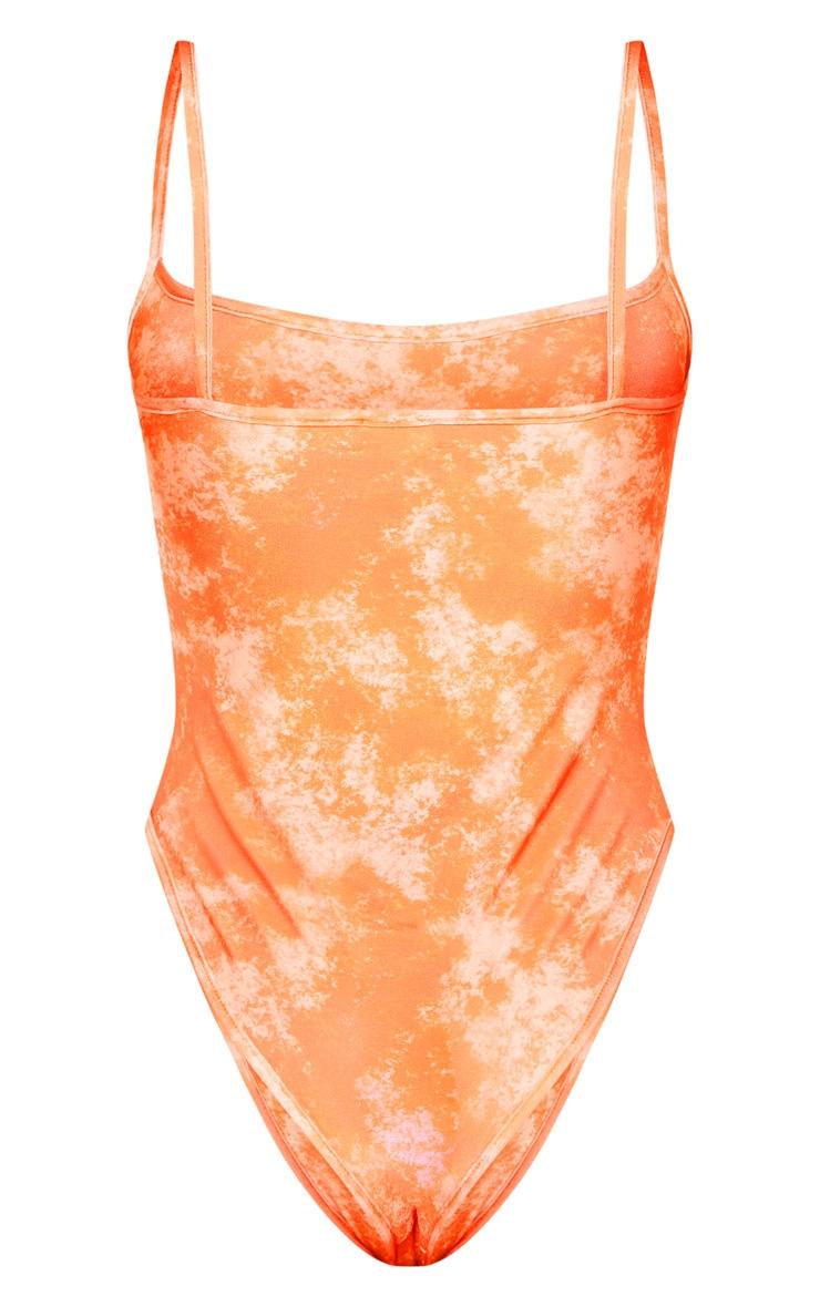 Maillot de bain orange javélisé à col arrondi 4