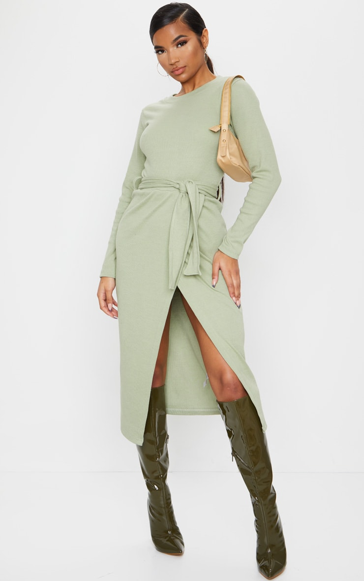Sage Green Heavy Rib Tie Waist Wrap Midi Dress 3