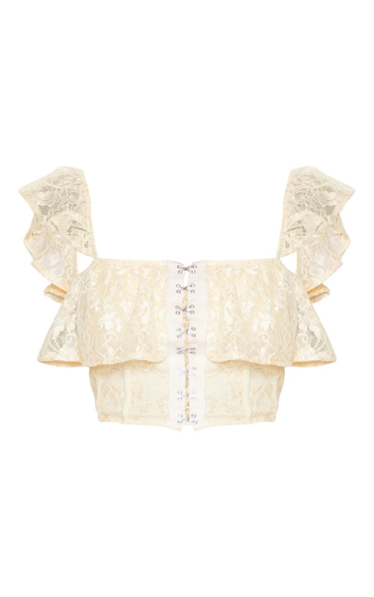 Cream Lace Hook and Eye Frill Strap Crop Top 3
