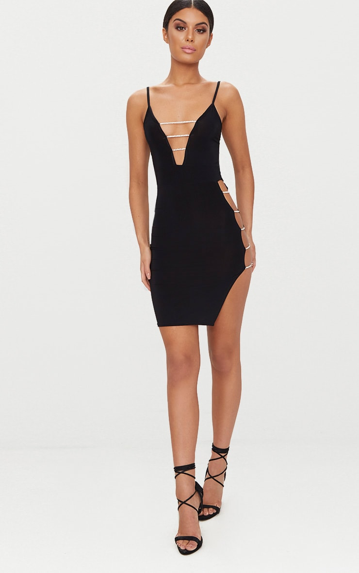 Black Slinky Extreme Split Diamante Chain Detail Bodycon Dress 4