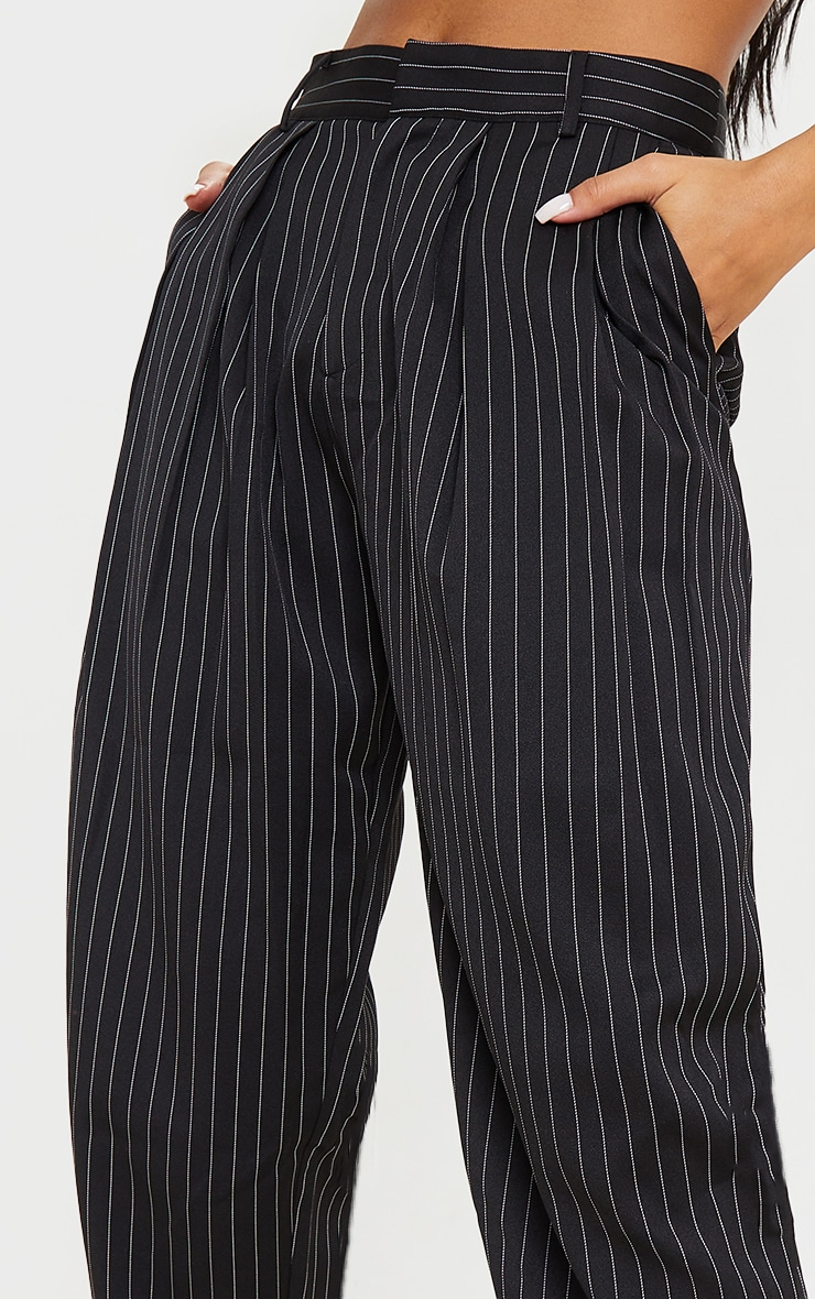 Black Pinstripe Woven High Waisted Trousers 4