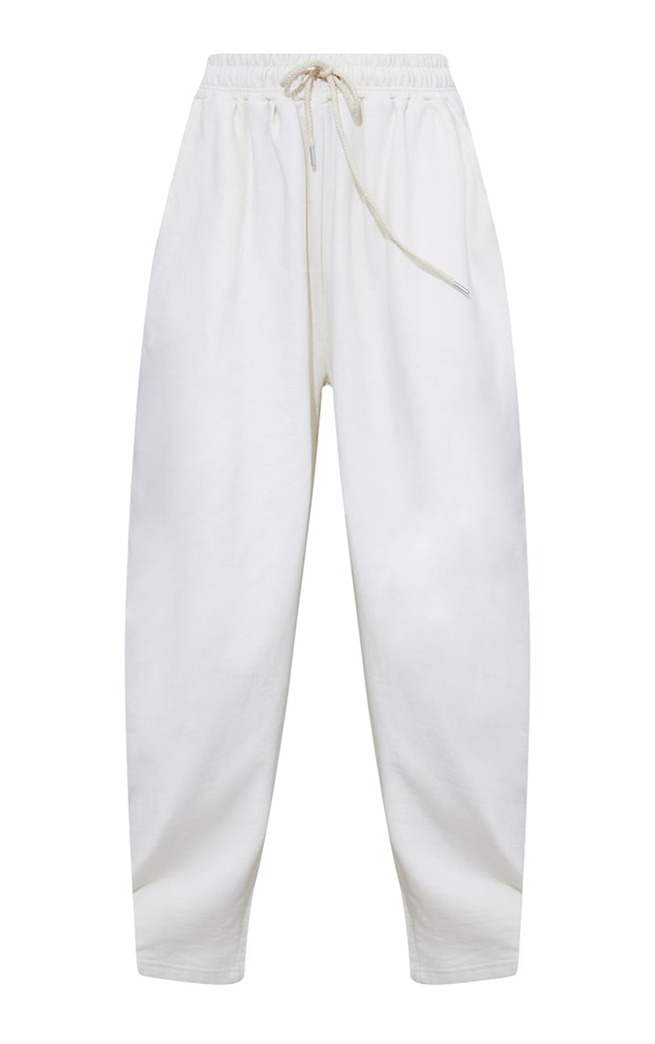 Cream Drawstring Slouch Wide Leg Trousers 5