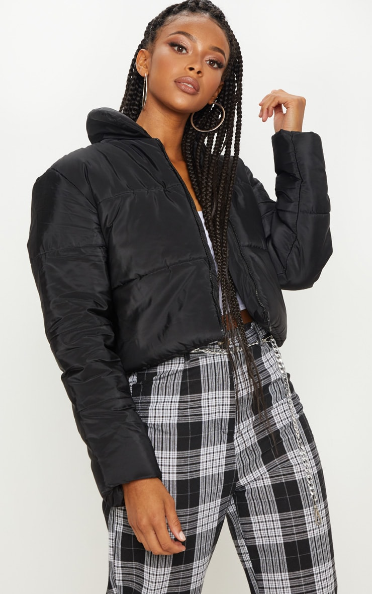 Black Puffer Cropped Jacket 1