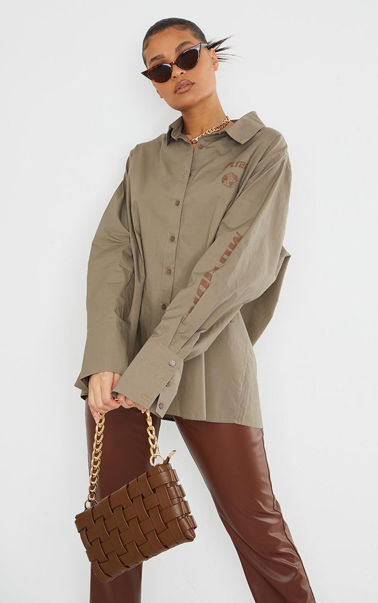 PRETTYLITTLETHING Stone Oversized Cuff Shirt 1