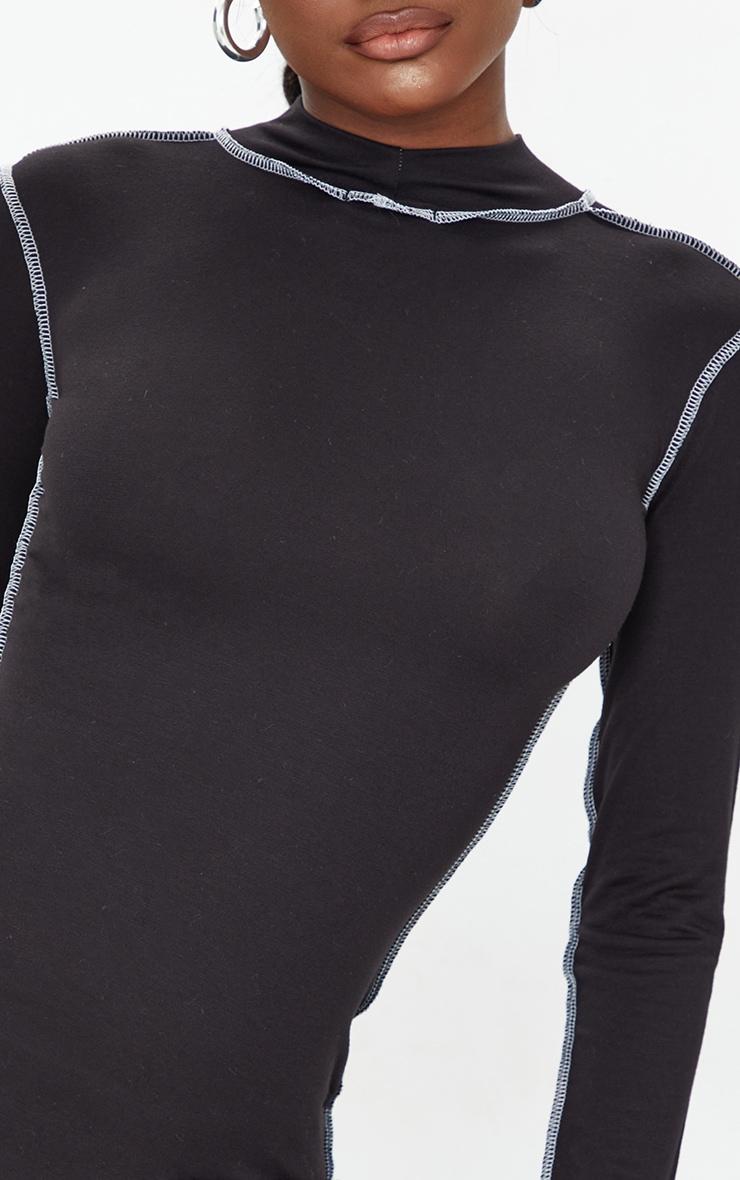 Tall Black Contrast Stich High Neck Bodycon Dress 4