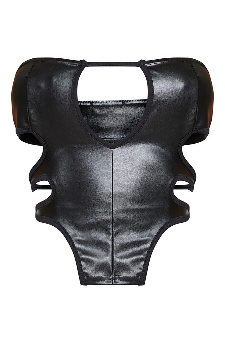 Shape Black PU Bandeau Cut Out Tie Back Corset Top 5