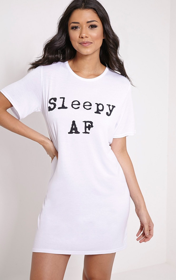 Sleepy AF White Oversized Nightshirt 1