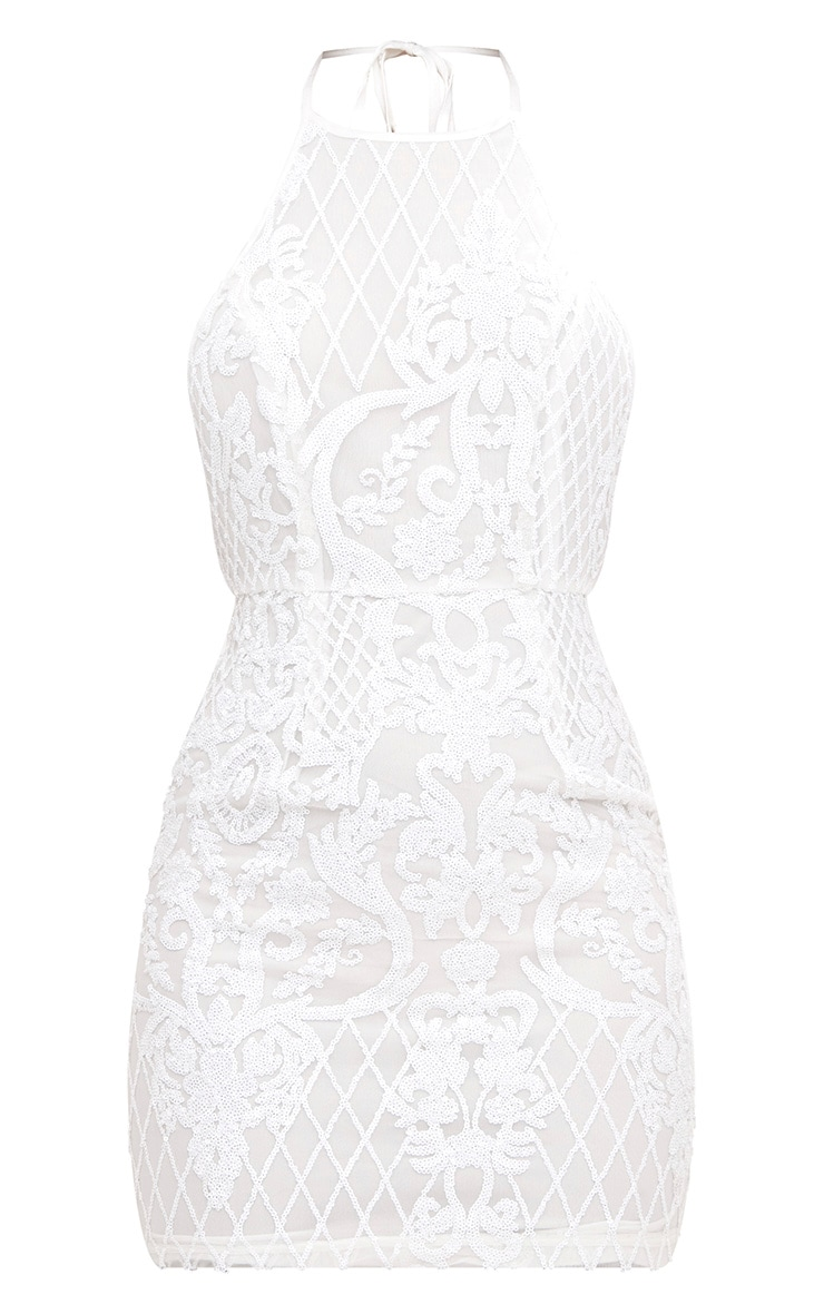 White Sequin Front Bodycon Dress  3