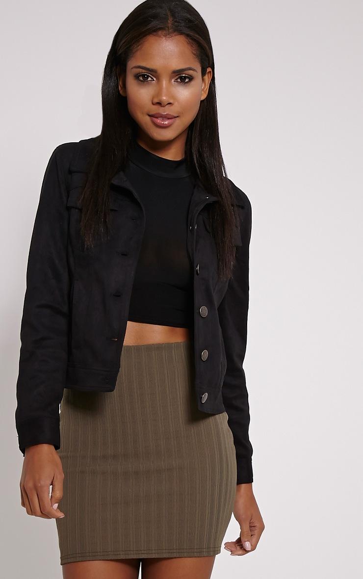 Martina Khaki Ribbed Mini Skirt 1