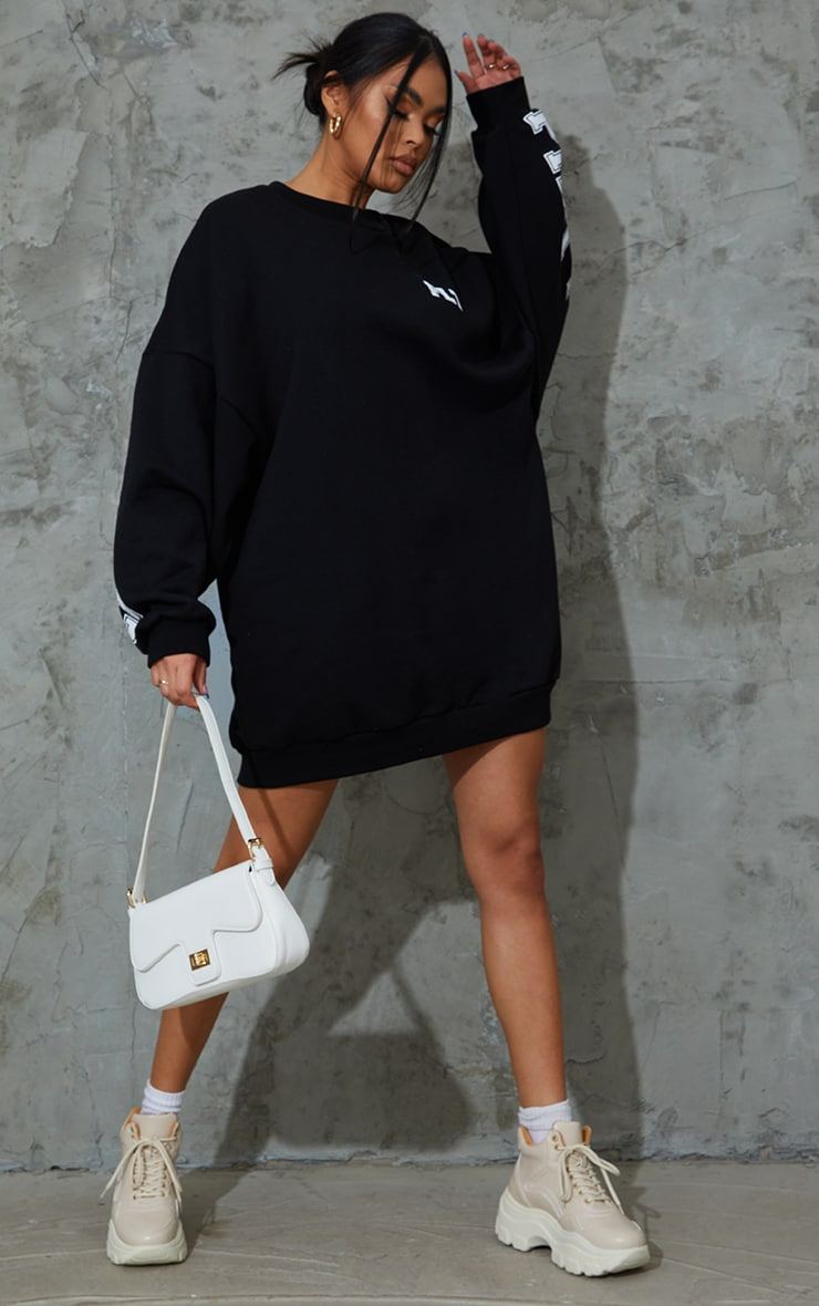 PRETTYLITTLETHING Black Slogan Oversized Sweat Jumper Dress 3